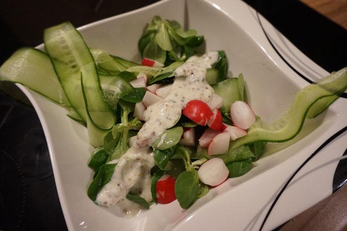 Rezept raffinierter Salat mit Radieschen und Joghurt Senf Dressing