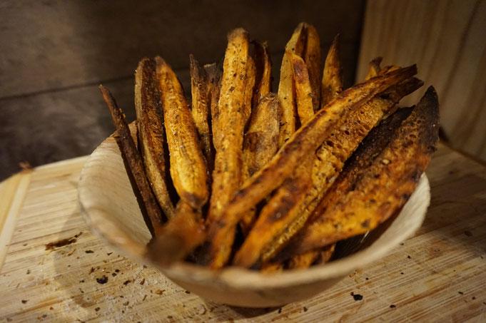 Knusprige Suesskartoffel Pommes mit Kraeutern