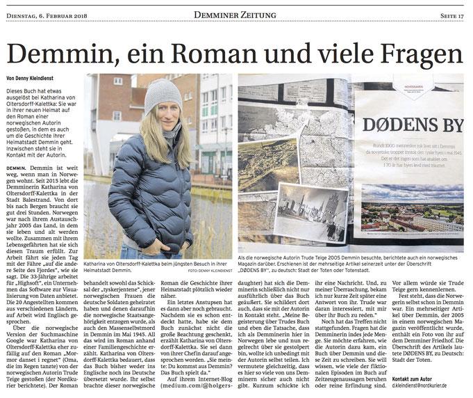 Nordkurier / Demminer Zeitung Artikel 6. Februar 2018