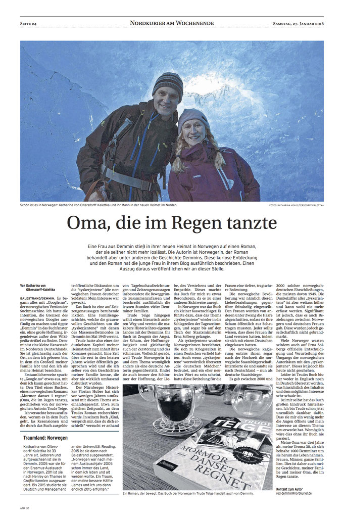 Nordkurier / Demminer Zeitung Artikel 27. Januar 2018