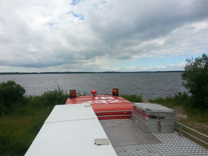 Umzug in ein neues Camp , mit super  Aussicht direkt am See.