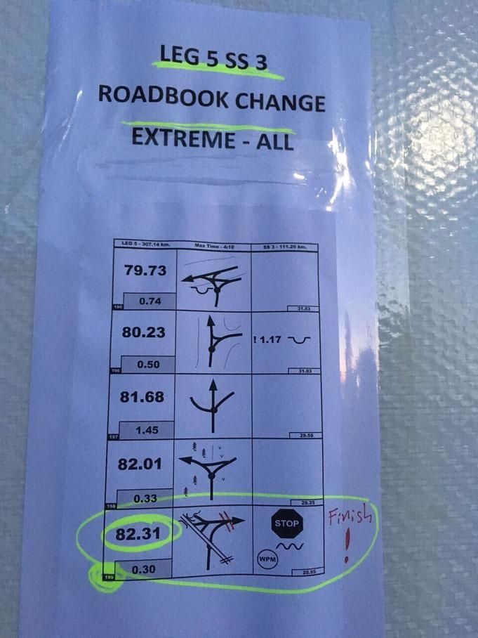Roadbook Änderung für die Nachtetappe