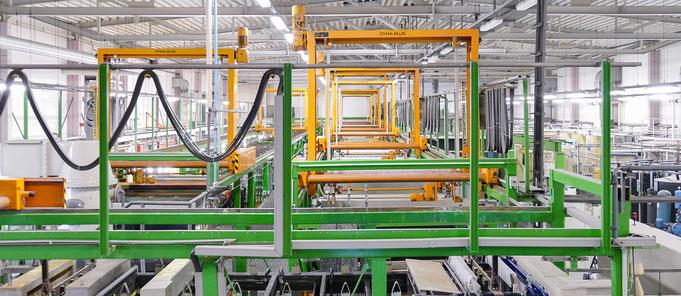 Fertigungshalle der OFB Oberflächenbearbeitung Kimax GmbH