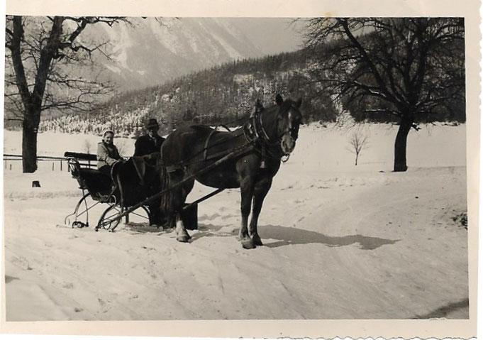 Pferdeschlitten mit dem der Landarzt in den Bergen unterwegs war