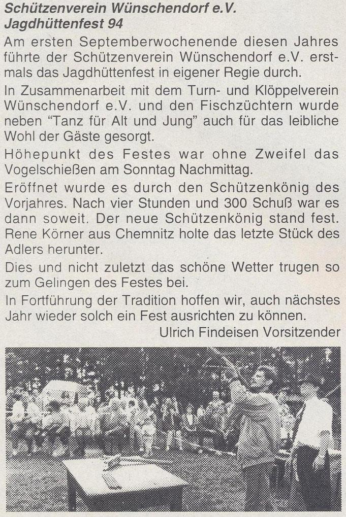 Bild: Teichler Wünschendorf Erzgebirge  Jagdhüttenfest 1994