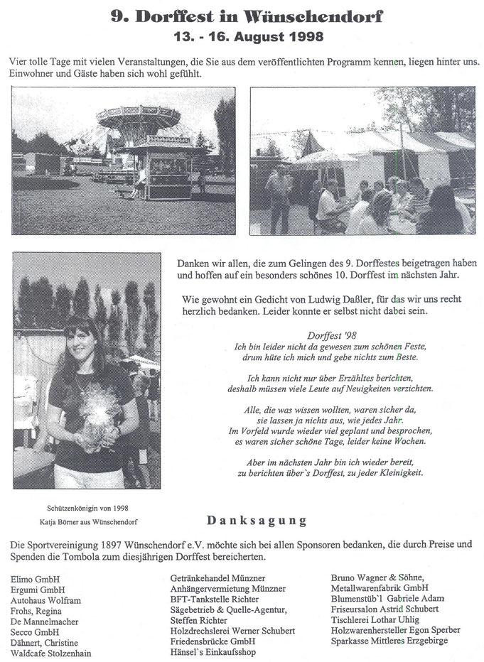 Bild: Teichler Wünschendorf Erzgebirge Dorffest 1998