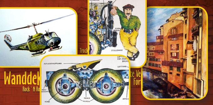 Wandmalerei Acrylfarbe, Wandbilder LKW, Transporter, Hubschrauber, italienische Brück Ponte Vecchio,, Wand gemalt, Portrait, realistische Malerei, Detailreich, wandgestaltung, wanddekorationlkw-räder, fahrer, häuser, illustriert, beleuchtet, beschriftet