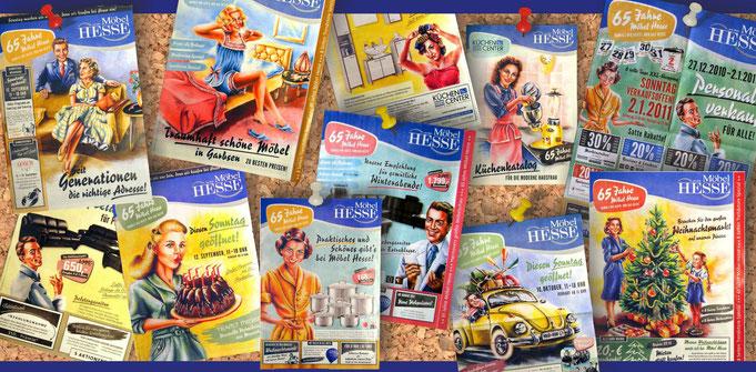 Flyer, Anzeigen, Broschüren, Werbung Möbelhaus hesse, Illustrationen, 1950er Jahre, wirtschaftswunderjahre, Menschen, stil, 50er jahreWerbung aus den 50er Jahren, Acrylbilder Werbekampagne, Weihnachtsbaum, Geburtstagskuchen, tolle frisuren, vw Käfer, Paar