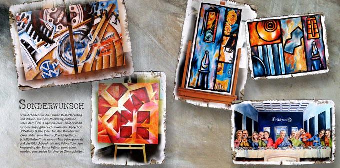 Kundenwünsche, Auftragsarbeiten, Mitarbeiterportrait, Acryl, Logo-Spielerei, abstraktes Bild, Abstraktion VW-Bulli, Jolle, Markenprodukten, pelikan, Firmenjubiläum, produktpräsentation, Logodarstellung, gemälde, wandbilder, geschenk, präsent, verschenken