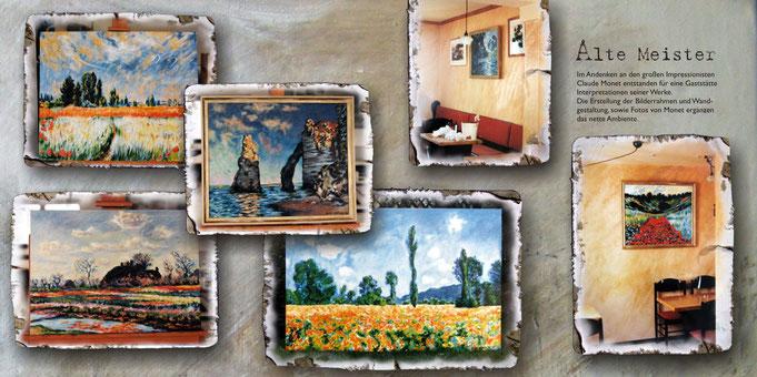 Impressionen Gemälden Claude Monet, Impressionist, Gaststätte, wandgestaltung, Mohnblumenbild, Landschaftsbilder, Küstenbild, Blumenwiese, kopien alter meister, leinwand, acryl, impressionistisc, raumgestaltung, nettes ambiente, motivthema, pinselstrich,