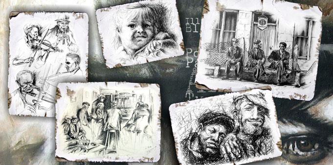 Illustrationen, Skribble, live-skizzen, Skizzen, Bleistiftzeichnung, Kreidebild, Portrait, gezeichnete Musiker, Pub, irische musiker, skizziert, gesichterstudie, gesichter, irland, Zeichnung Kindergesicht, Geigespieler, Bank, charakterkopf, detailreich