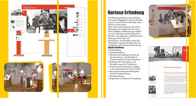 Museumsausstellung, Exponate, Ausstellungsdisplays, kuriose erfindungen, Banner, Informationstafeln, Ausstellungskonzept, zeitleisten, farblich abgestimmt, großes motivbanner, exclusiv, historische erfindungen, event, messe, austellungsentwurf, prospekte