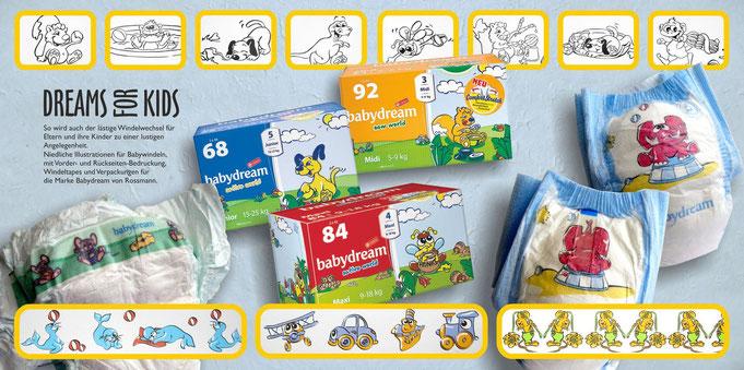 Gezeichnete kindgerechte Figuren, Comic, Babywindeln Verpackungen, niedlicher Elefant, diverse Tierzeichnungen, lustige Insektencomics, windeln, bedruckt, Produktdesign, verpackungsdesign, Eichhörnchenbild, Elefantenbild, Seehundzeichnung, Biene mit Honig
