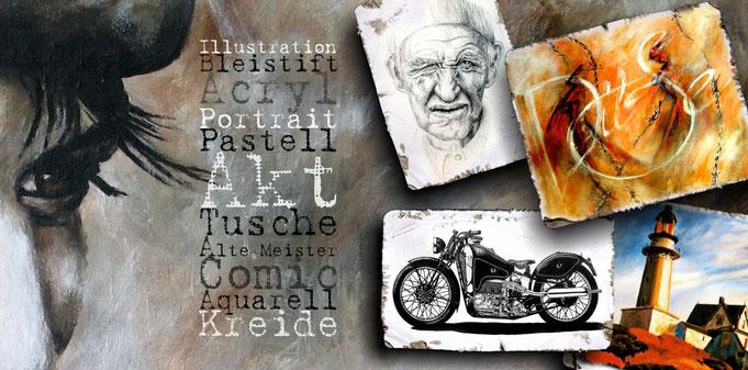 Bleistiftzeichnung, Portrait, Tuschezeichnung, Motorradzeichnung, abstaktes Bild mit Stacheldraht, Leuchturmmalerei in Acryl