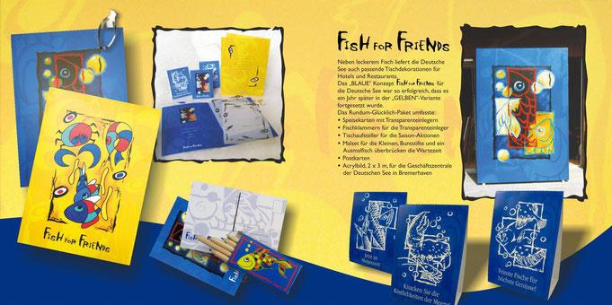 IllustrationenSpeisekarten, klappkarte, Tischaufstellern, Postkarten Deutsche See, Acrylgemälde, Abstrakt, Fischzeichnungen, ambiente, großes gemälde , transparenteinleger, abstrakes fischbild, blasen, bunte fische, verschiedene ebenen, zwei varianten