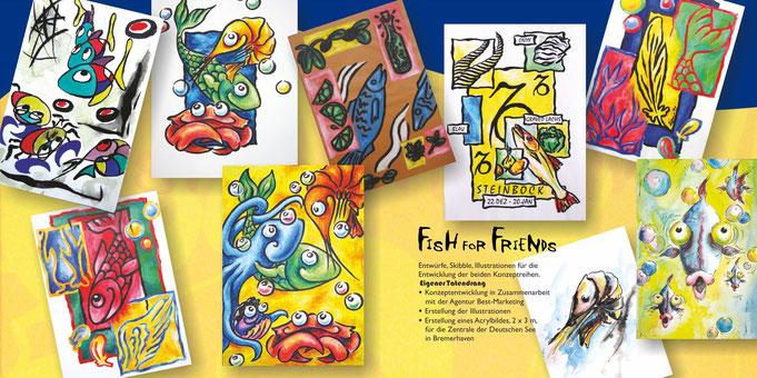 Skribble, Kreidezeichnung, pastelzeichnung, Aquarellzeichnungen, Speisekarte, Tischaufsteller, Sternzeichenbild, Abstrakt, Tuschezeichnung, comic, aquarell, fischsorten, wildtiere, geweih, themenkarte, lustige fische, lustige gesichter, mirostil, feder