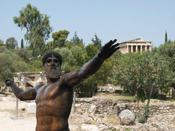 Alla riconquista della civiltà. Reconquering civilization; series. Atene 2016 (Poseidone, Museo Archeologico Nazionale di Atene; panorama ateniese)