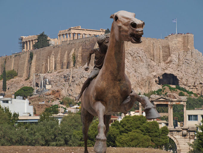 Alla riconquista della civiltà. Reconquering civilization; series. Athens 2016 (statue from National Archeological Museum of Athens, 2nd century bc; Athenian panorama)