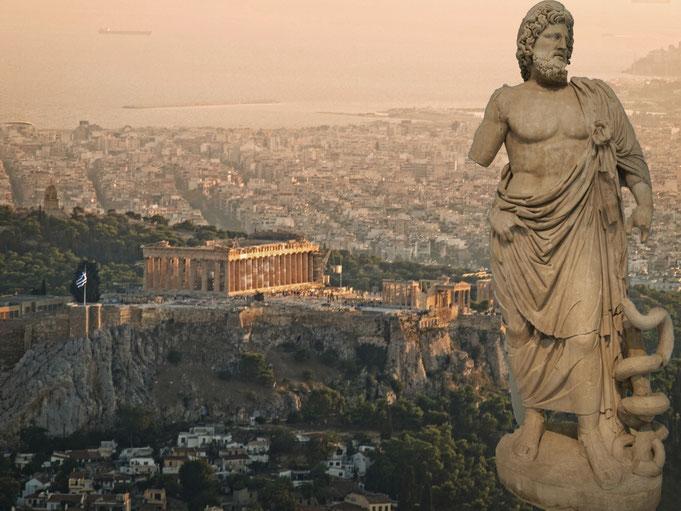 Alla riconquista della civilità; serie. Ippocrate, Atene 2016 (statua presso Museo Archeologico Nazionale di Atene; panorama ateniese)