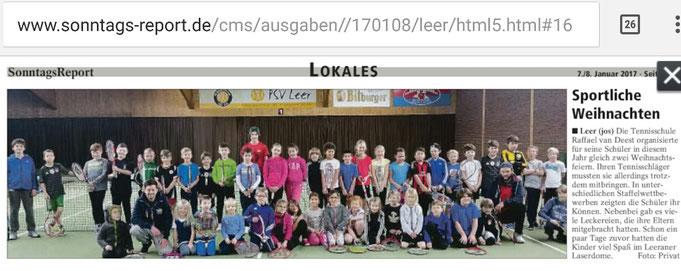 Tennisschule Raffael van Deest Presse Sonntags Report Dieter sportliche Weihnachten
