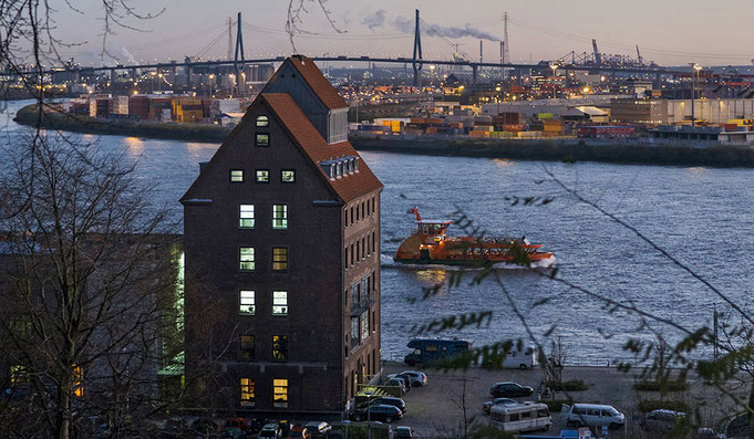 Köhlbrand brigde and Elbe River in Hamburg Altona at the evening