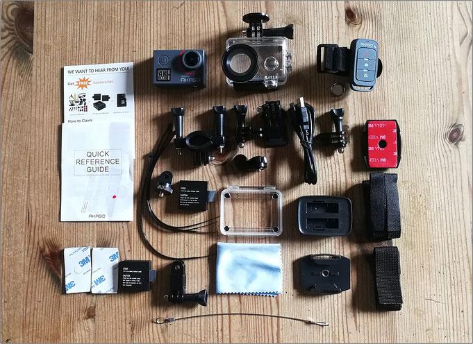 Die Cam kommt mit jeder Menge Zusatzausrüstung.