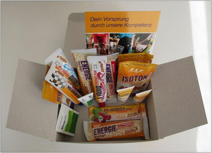 Die Box bietet Produkte aus den Bereichen Sporternährung und Körperpflege.
