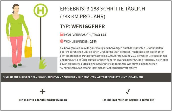 Ein Ergebnis mit Vitawalker. Anschließend lassen sich Handlungsempfehlungen anzeigen. Bildquelle: www.vamos-schuhe.de