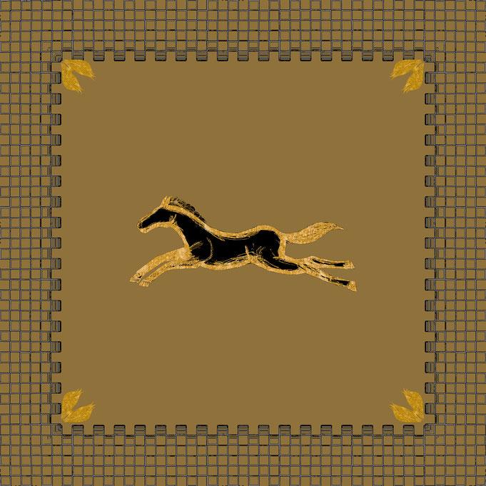"Roland Carlos, Scarf "" Horses "" Silkprint..."