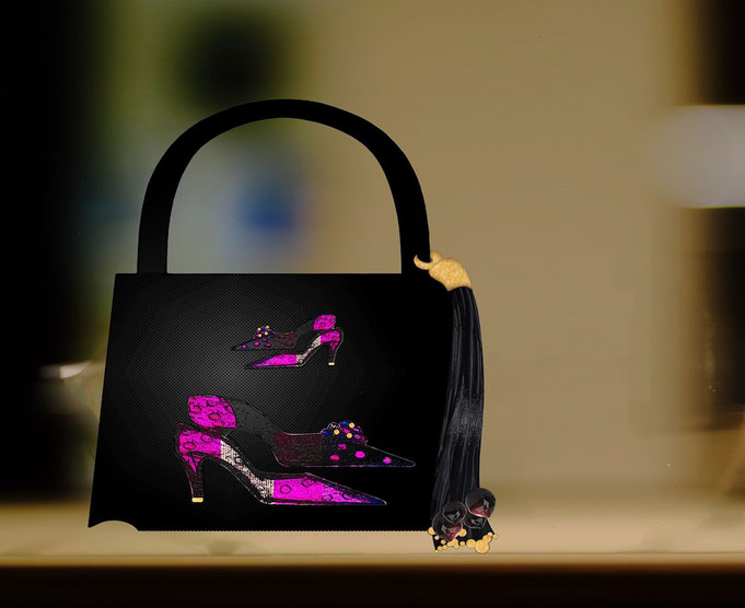 "Roland Carlos, Women handbag "" Dreaming Shoes """