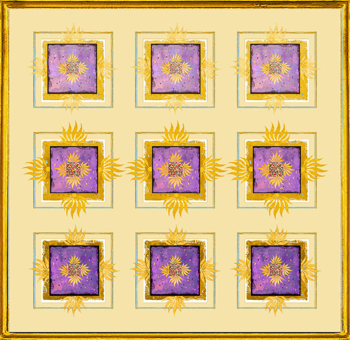 """ Magic Scarf "" Block Gold Lilac 1, Print on silk and paper, gilded from hand"