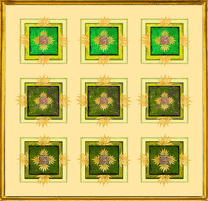 """ Magic Scarf "" Block Gold Green 2, Print on silk and paper, gilded from hand"