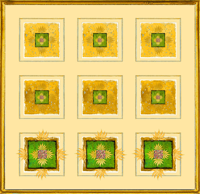 """ Magic Scarf "" Block Gold Green 1, Print on silk and paper, gilded from hand"