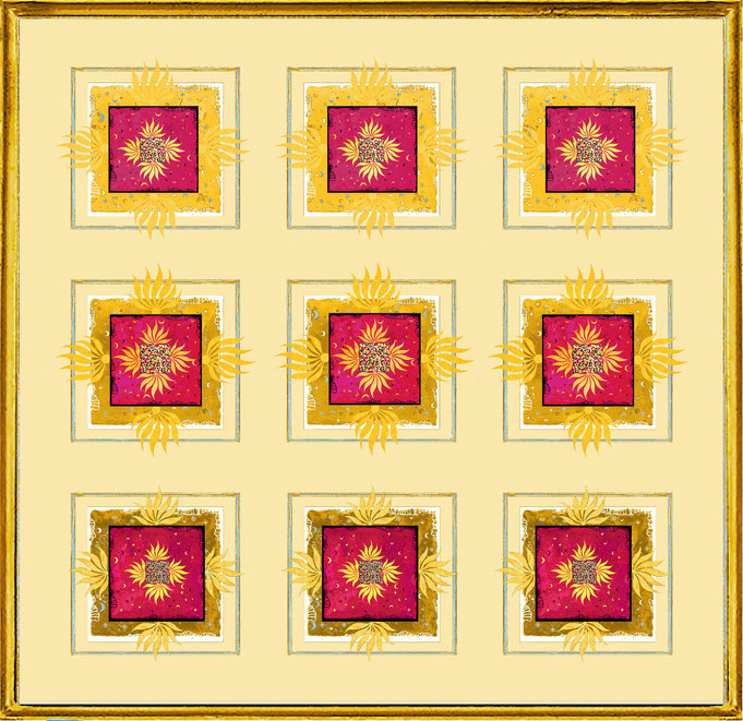 """ Magic Scarf "" Block Gold Red 1, Print on silk and paper, gilded from hand"