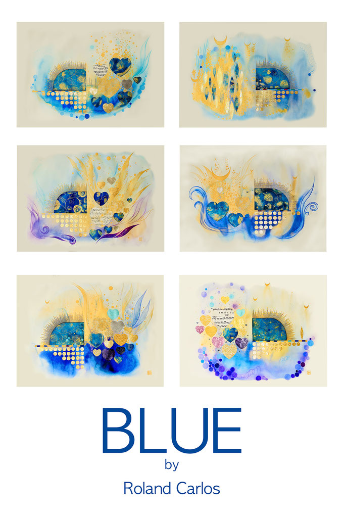 "Roland Carlos, Original Painting "" BLUE "" 6 Block 2018 / 19"