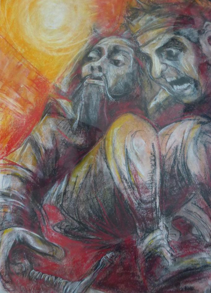 Peter Albach, Don Quijote,Zeichnung,Malerei,grafik, gesicht, Regenbogen, Roman, Don Quijote, Don Quixote, drawing, painting, graphic, face, rainbow,  cara, arco iris, novela, Miquel de Cervantes,Windmühlen, windmills, molinos de viento