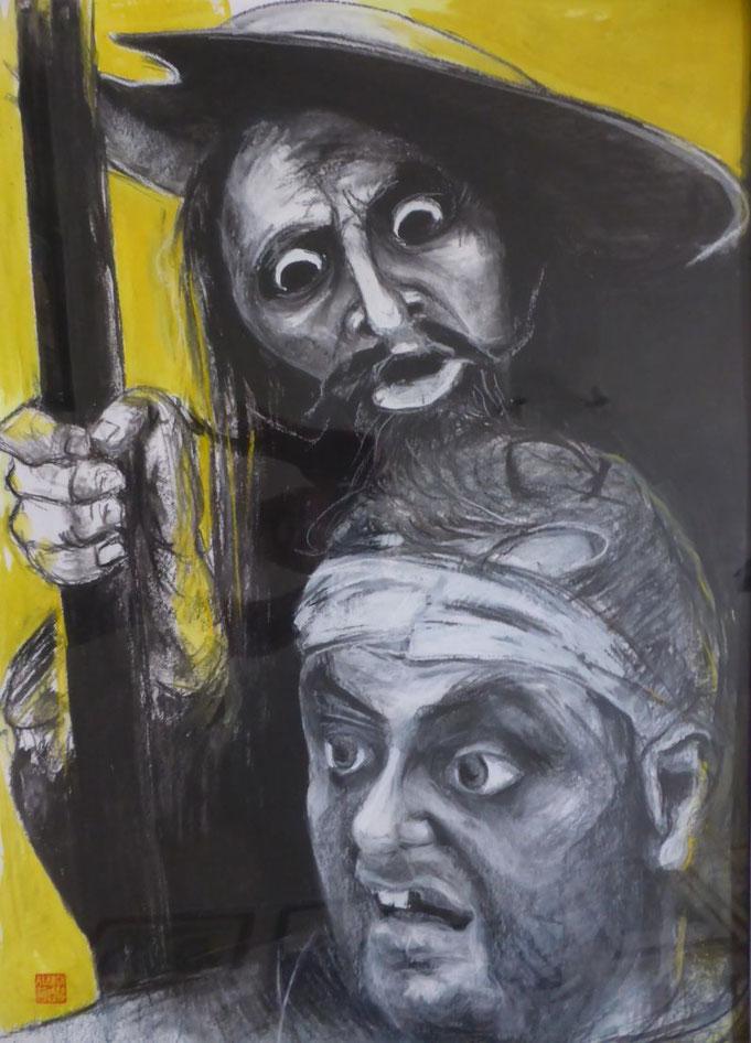 どんきほぉて - Don Quijote - zeichnung - kohle- kreide