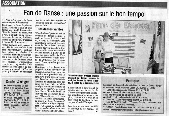 Article La PROVENCE 20-10-2006