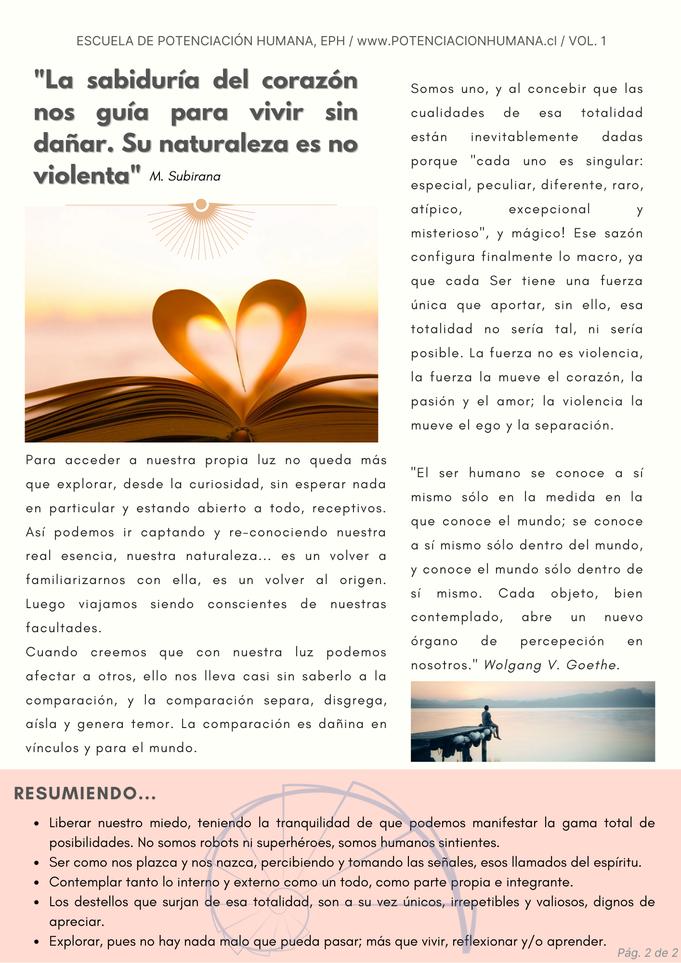 Artículo la Fuerza Singular del Yo, pág 2. potenciales personales, desarrollo humano y bienestar. Tomás Walton coach pnl. Escuela de Potenciación Humana, EPH