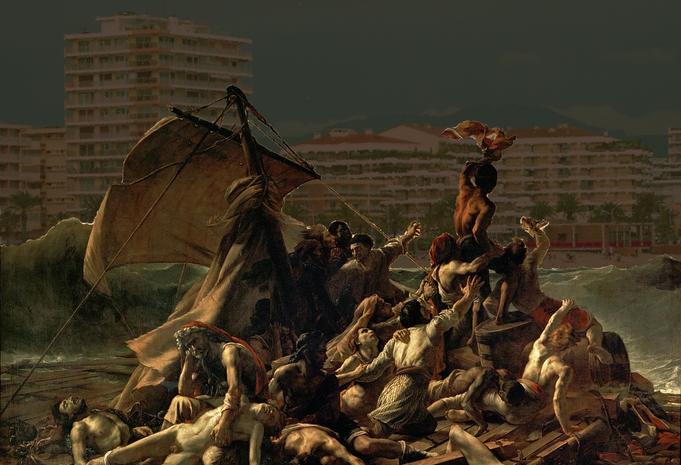 Le Radeau de La Méduse deThéodore Géricault arrivant à Fréjus Plage après 200 ans d'errance.