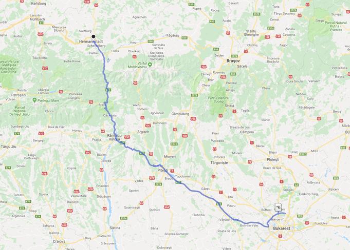 300 km trennen Bukarest von  Sibiu (Hermannstadt)