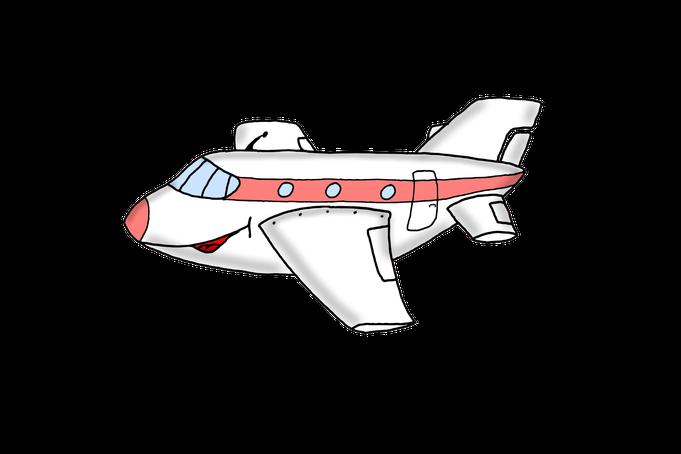Karikatur Flugzeug, Urlaub, Reisen
