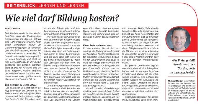 Einsiedler Anzeiger Michael Berger lernen Lernen gezielt-lernen.ch Lernen Bildung Kosten Preis Nutzen
