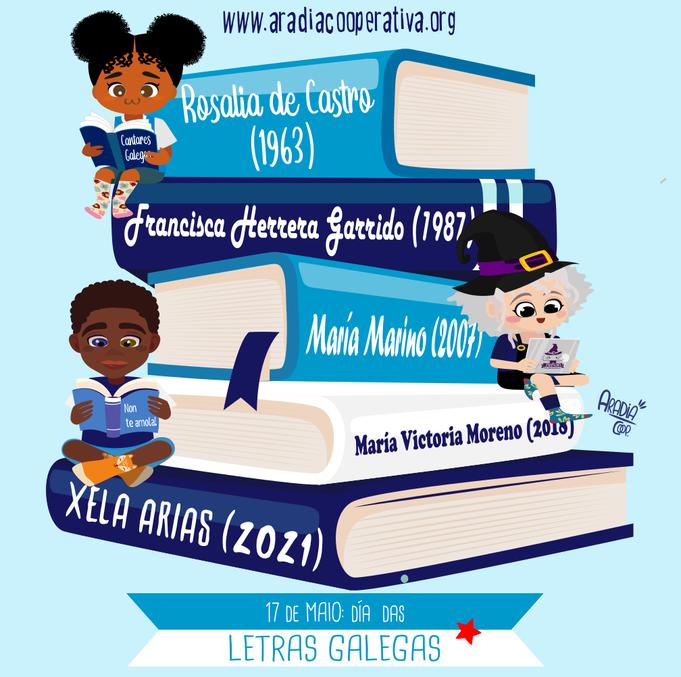 Agarimo, Aradia e Lea gozan da lectura das escritoras galegas recoñecidas no Día das Letras Galegas