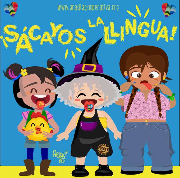 Andecha, Aradia, Maxín y La Pita saquen la llingua pol asturiano