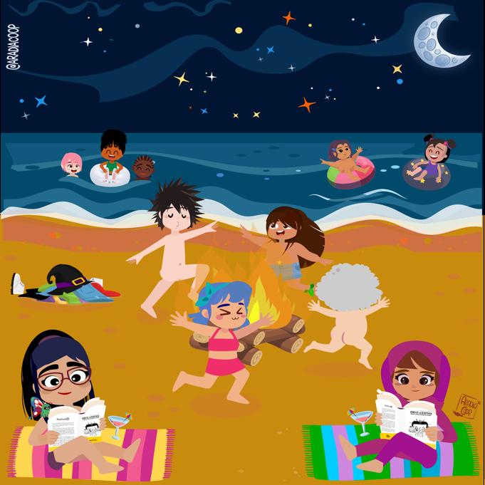 El akelarre celebra la hoguera en la playa
