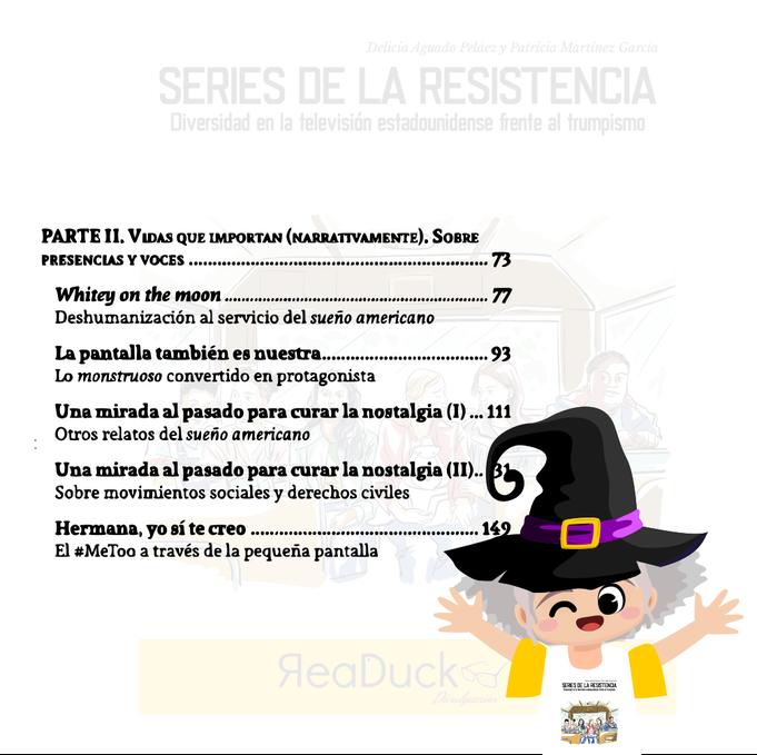 """Aradia lee la segunda página del índice del libro """"Series de la resistencia"""""""