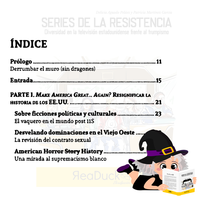 """Aradia lee la primera página del índice del libro """"Series de la resistencia"""""""