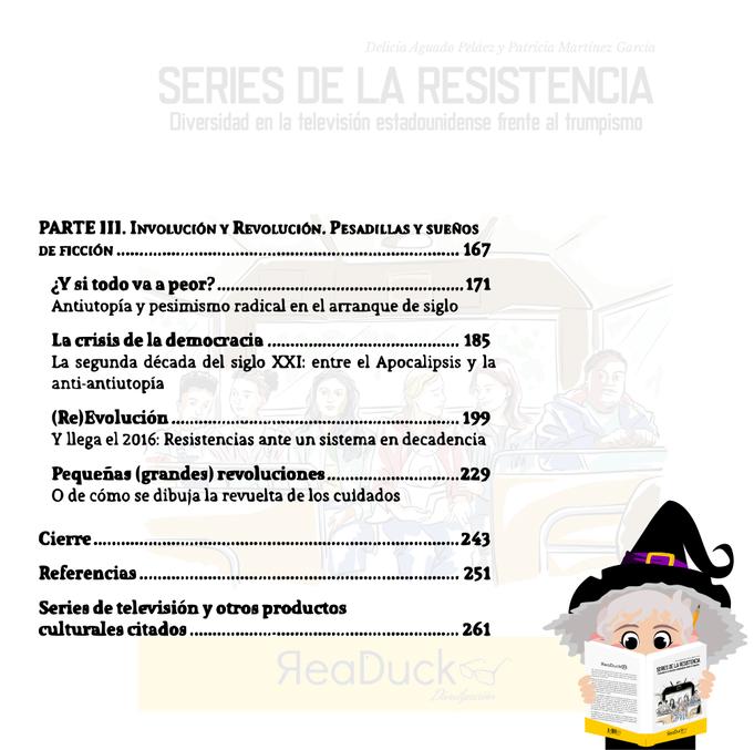 """Aradia lee la última página del índice del libro """"Series de la resistencia"""""""