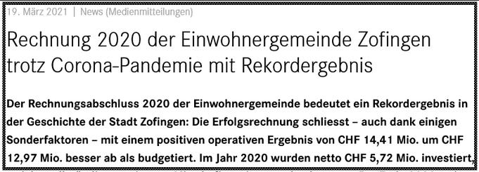 Medienmitteilung Stadt Zofingen März 2021